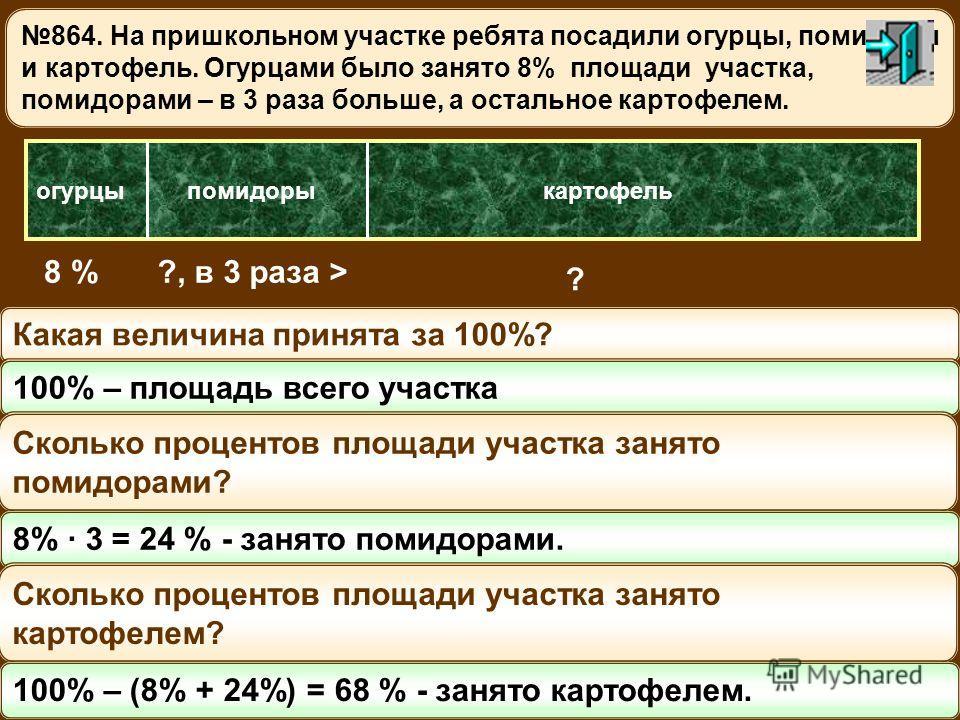 864. На пришкольном участке ребята посадили огурцы, помидоры и картофель. Огурцами было занято 8% площади участка, помидорами – в 3 раза больше, а остальное картофелем. огурцыпомидоры 8 %?, в 3 раза > картофель ? Какая величина принята за 100%? 100%