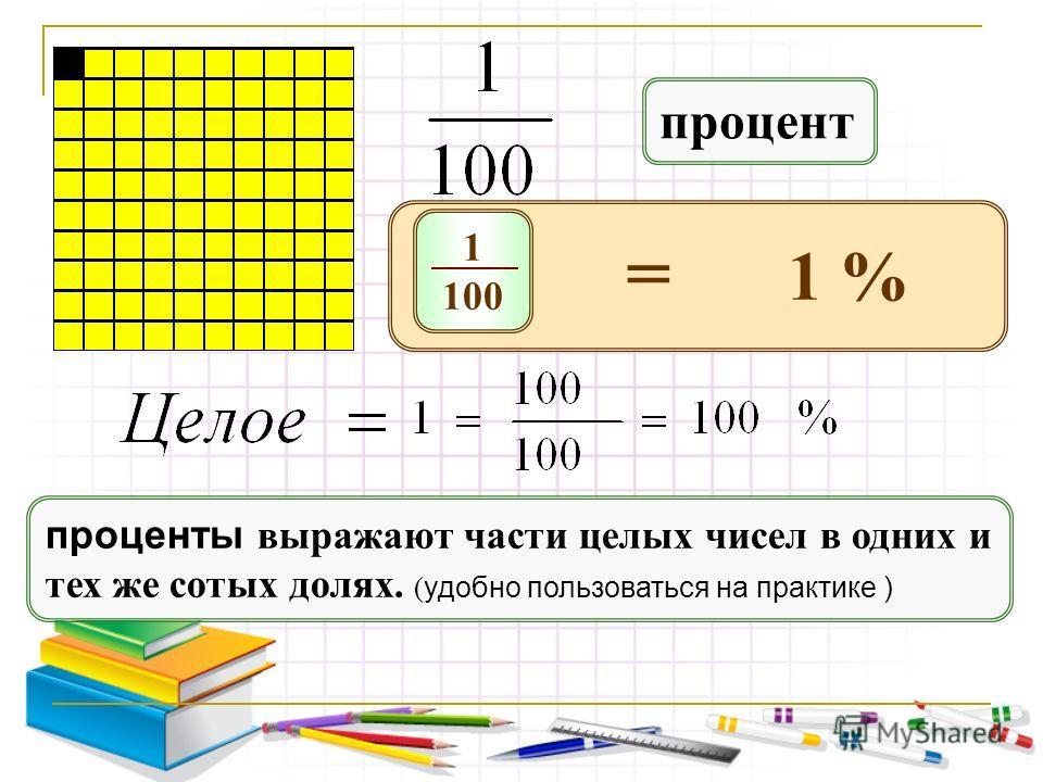 1 100 = 1 % процент проценты выражают части целых чисел в одних и тех же сотых долях. ( удобно пользоваться на практике )
