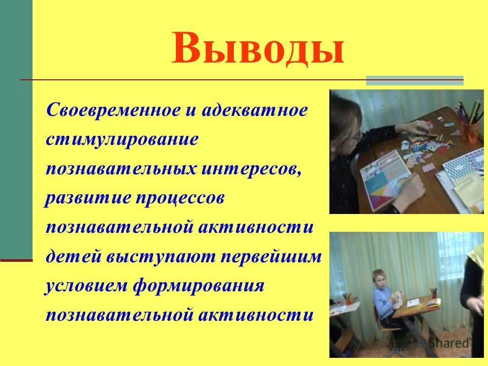 Выводы Своевременное и адекватное стимулирование познавательных интересов, развитие процессов познавательной активности детей выступают первейшим условием формирования познавательной активности