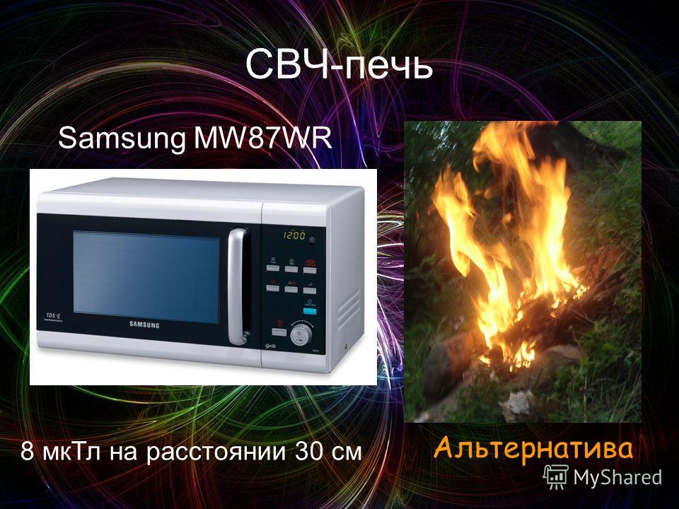 СВЧ-печь 8 мкТл на расстоянии 30 см Samsung MW87WR Альтернатива КОСТЕР
