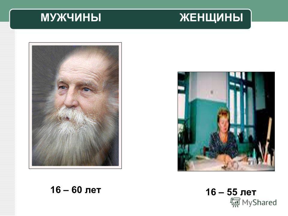 16 – 60 лет 16 – 55 лет МУЖЧИНЫЖЕНЩИНЫ