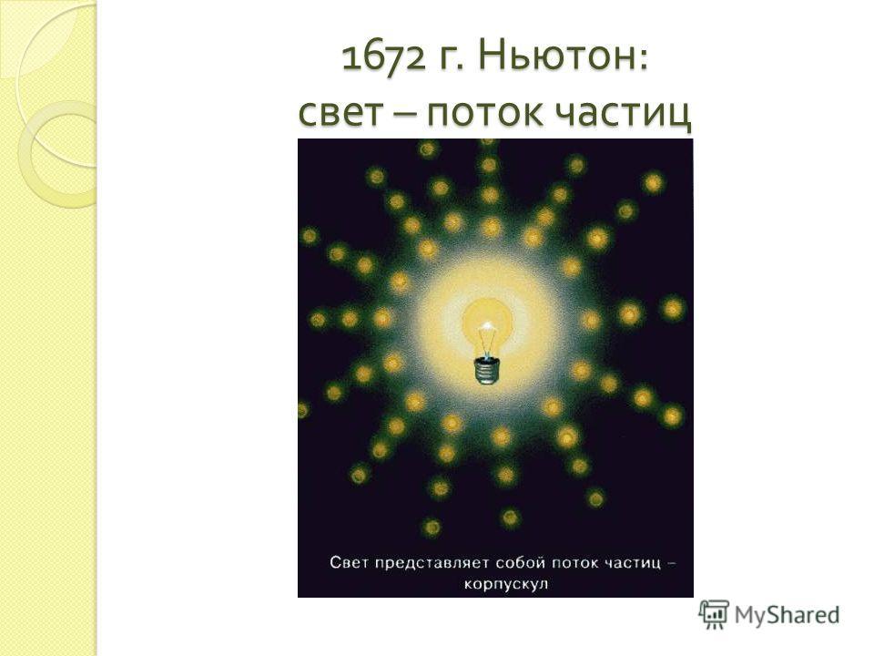 1672 г. Ньютон : свет – поток частиц
