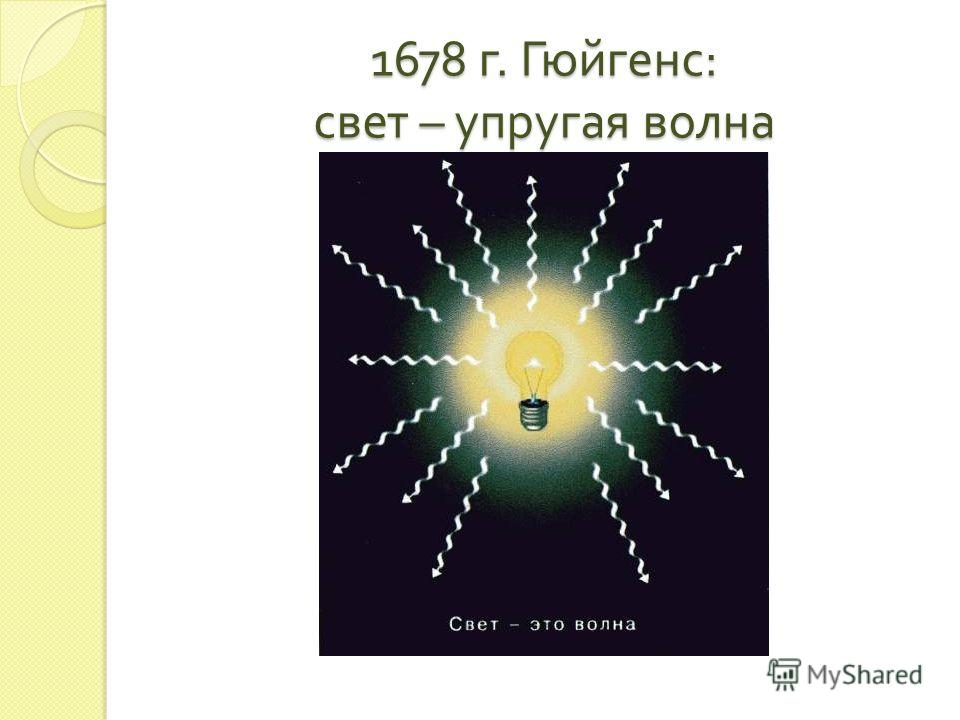 1678 г. Гюйгенс : свет – упругая волна