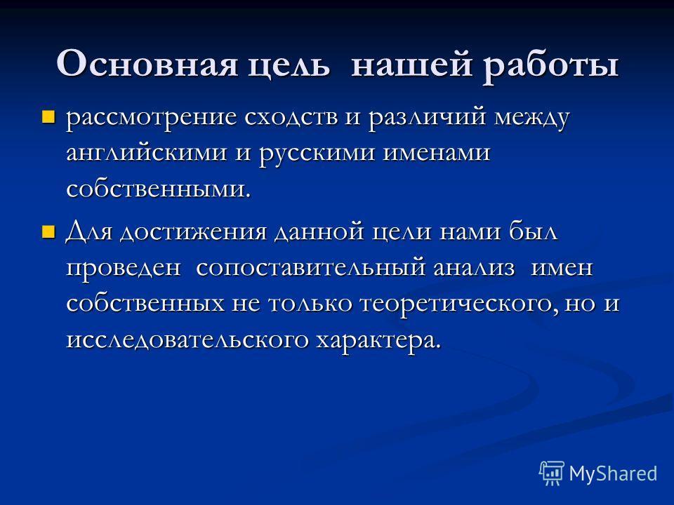 Основная цель нашей работы рассмотрение сходств и различий между английскими и русскими именами собственными. рассмотрение сходств и различий между английскими и русскими именами собственными. Для достижения данной цели нами был проведен сопоставител