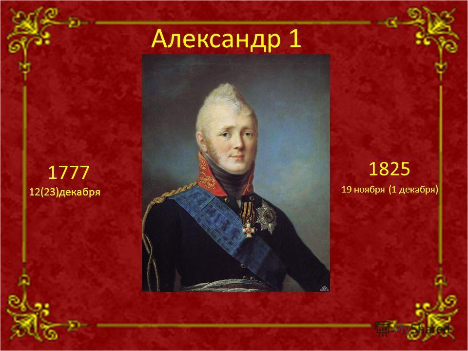 Александр 1 1825 19 ноября (1 декабря) 1777 12(23)декабря