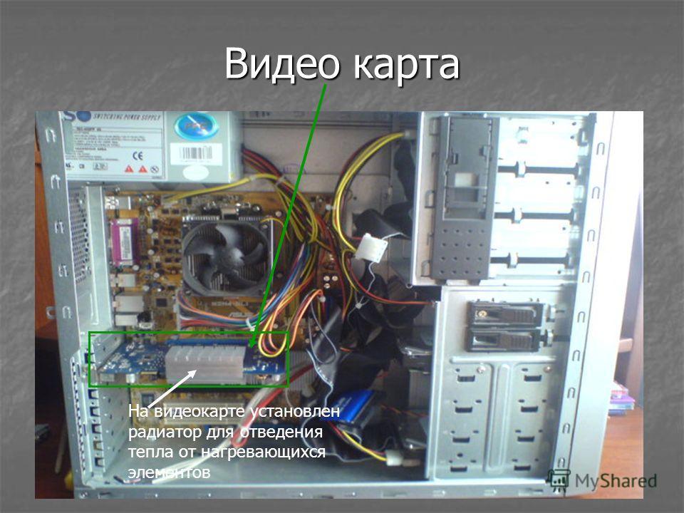 Видео карта На видеокарте установлен радиатор для отведения тепла от нагревающихся элементов