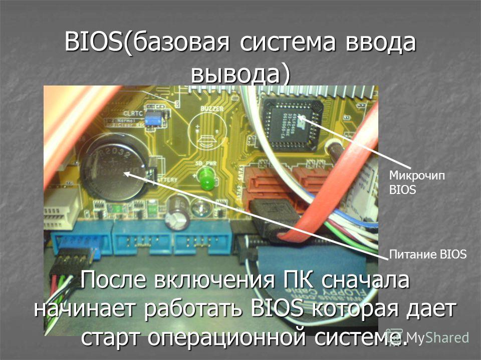 BIOS(базовая система ввода вывода) Микрочип BIOS Питание BIOS После включения ПК сначала начинает работать BIOS которая дает старт операционной системе.