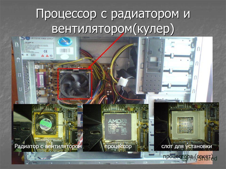 Процессор с радиатором и вентилятором(кулер) Радиатор с вентилятором процессор слот для установки процессора (сокет)