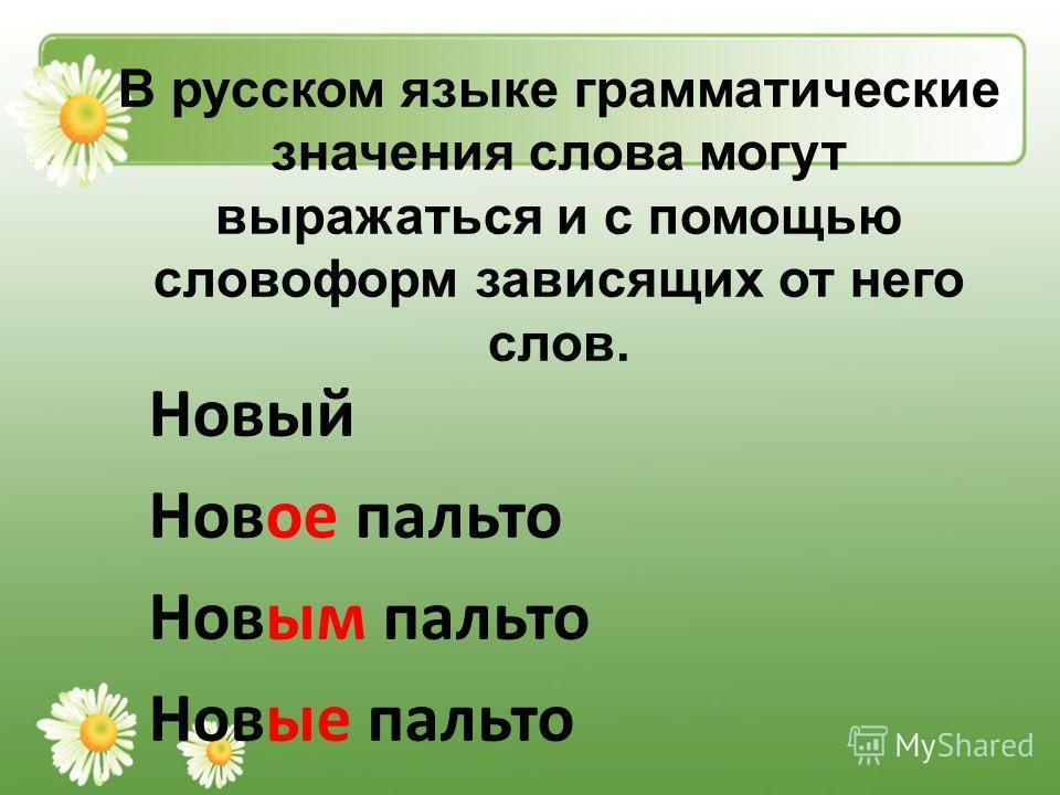 В русском языке грамматические значения слова могут выражаться и с помощью словоформ зависящих от него слов. Новый Новое пальто Новым пальто Новые пальто