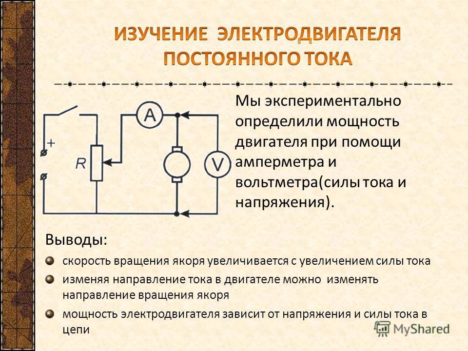 Выводы: скорость вращения якоря увеличивается с увеличением силы тока изменяя направление тока в двигателе можно изменять направление вращения якоря мощность электродвигателя зависит от напряжения и силы тока в цепи Мы экспериментально определили мощ