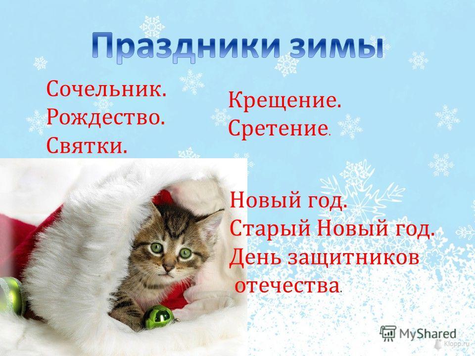 Сочельник. Рождество. Святки. Новый год. Старый Новый год. День защитников отечества. Крещение. Сретение.