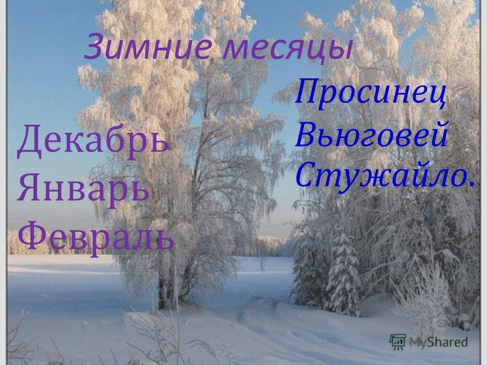 Зимние месяцы Декабрь Январь Февраль Стужайло. Просинец Вьюговей