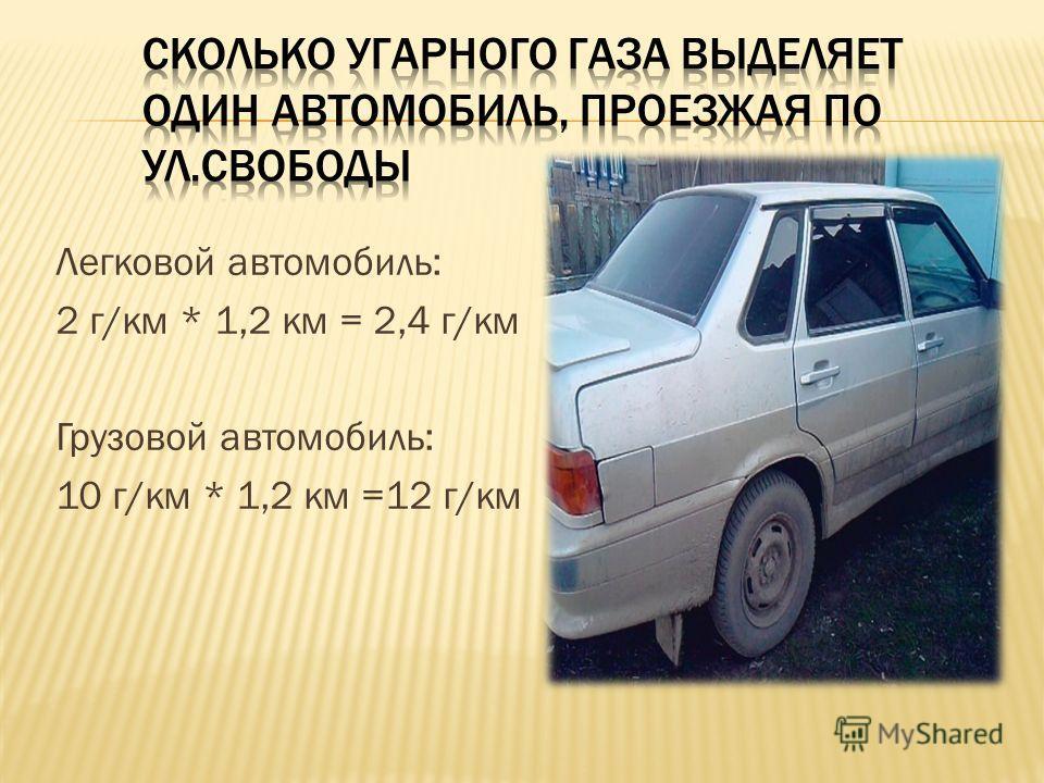 Легковой автомобиль: 2 г/км * 1,2 км = 2,4 г/км Грузовой автомобиль: 10 г/км * 1,2 км =12 г/км
