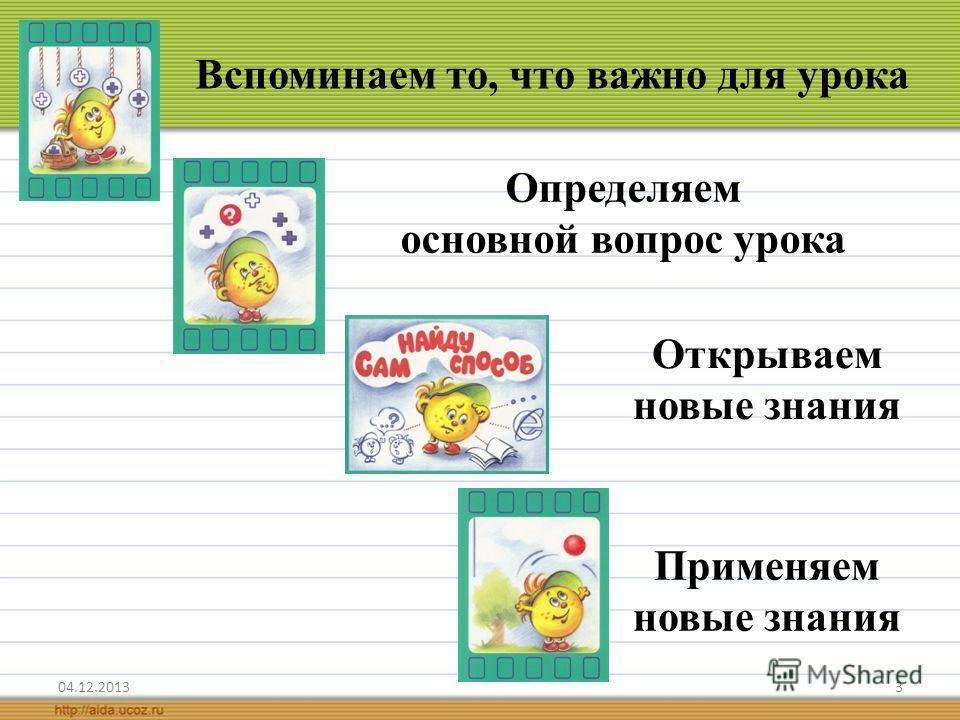 3 Вспоминаем то, что важно для урока Открываем новые знания Применяем новые знания Определяем основной вопрос урока
