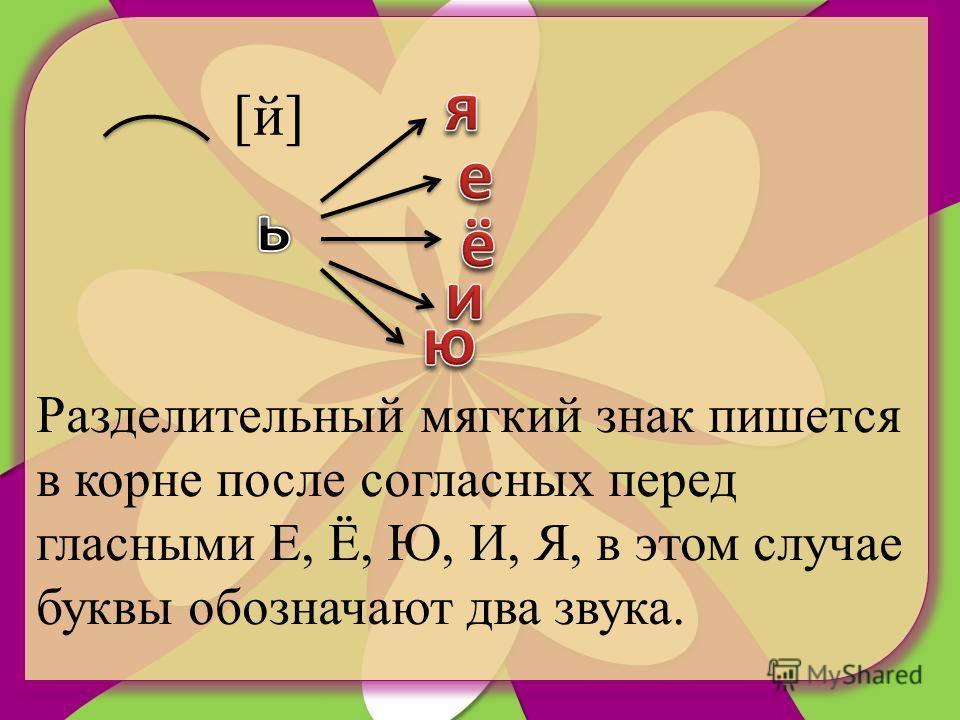[й][й] Разделительный мягкий знак пишется в корне после согласных перед гласными Е, Ё, Ю, И, Я, в этом случае буквы обозначают два звука.