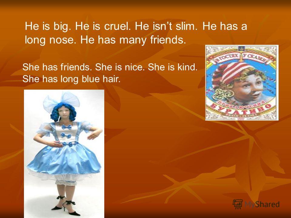He is big. He is cruel. He isnt slim. He has a long nose. He has many friends.. She has friends. She is nice. She is kind. She has long blue hair.