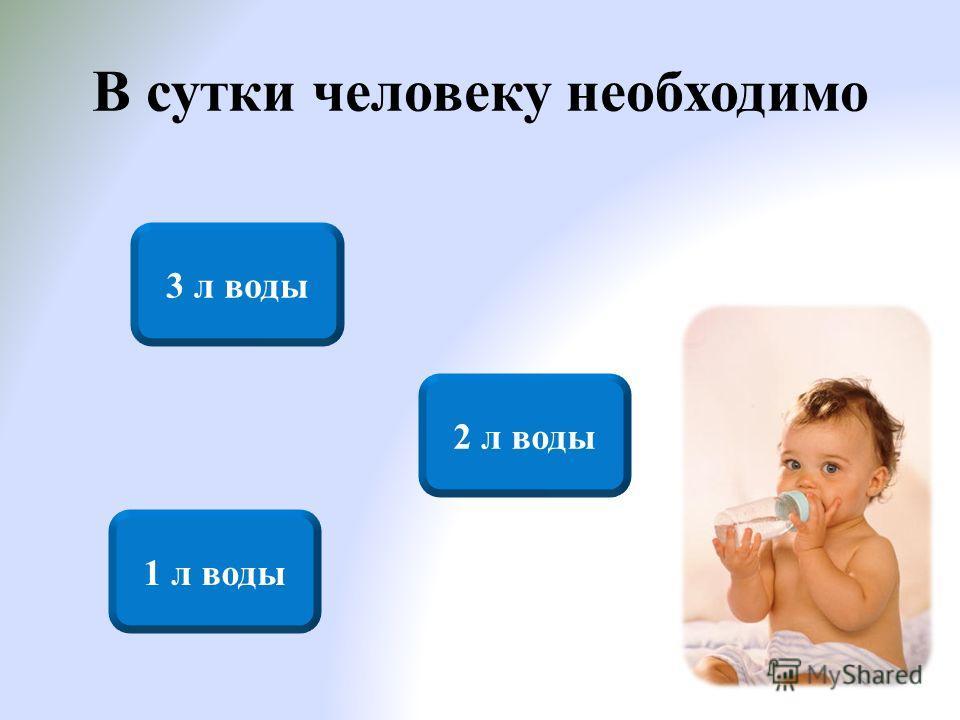 В сутки человеку необходимо 2 л воды 3 л воды 1 л воды