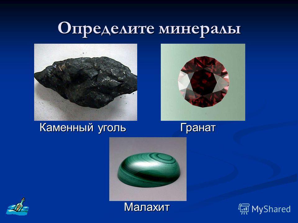 Определите минералы Каменный уголь Гранат Малахит