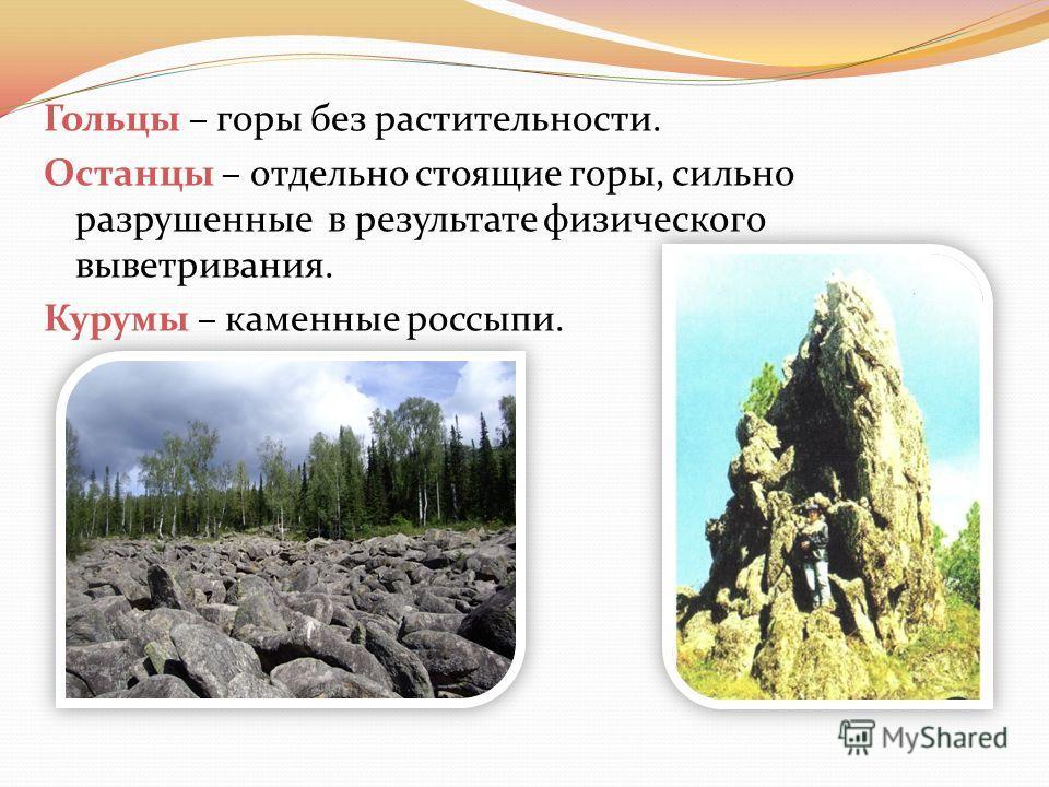 Гольцы – горы без растительности. Останцы – отдельно стоящие горы, сильно разрушенные в результате физического выветривания. Курумы – каменные россыпи.