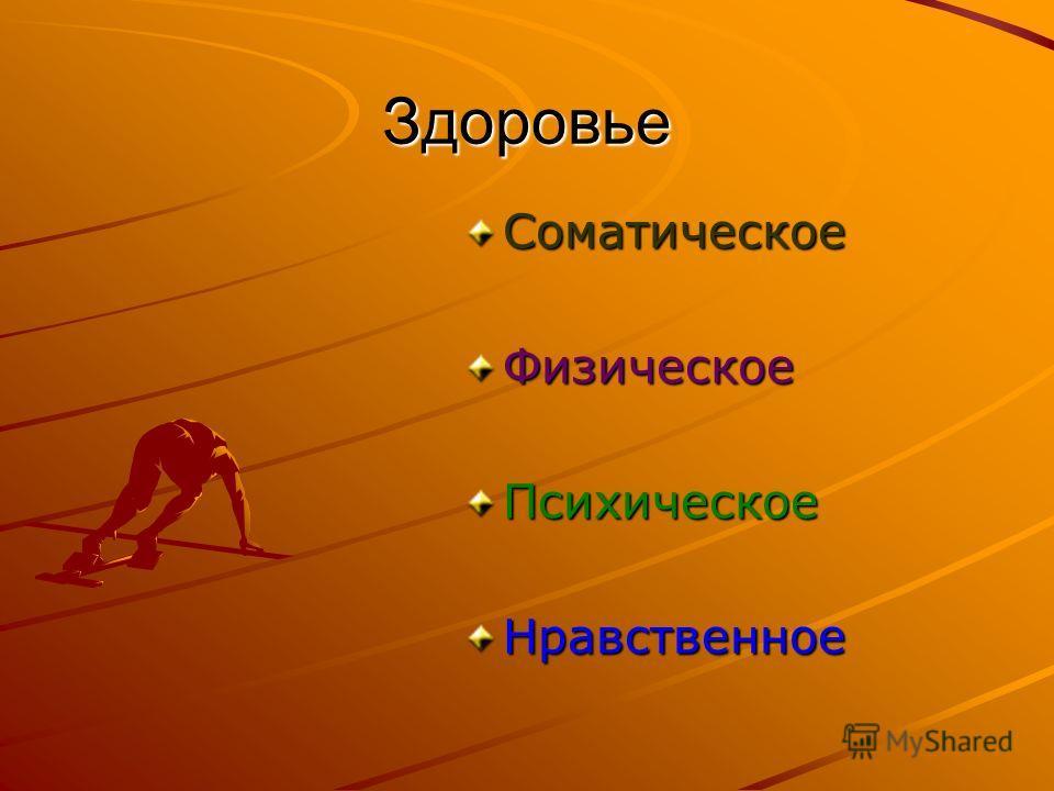 Здоровье СоматическоеФизическоеПсихическоеНравственное