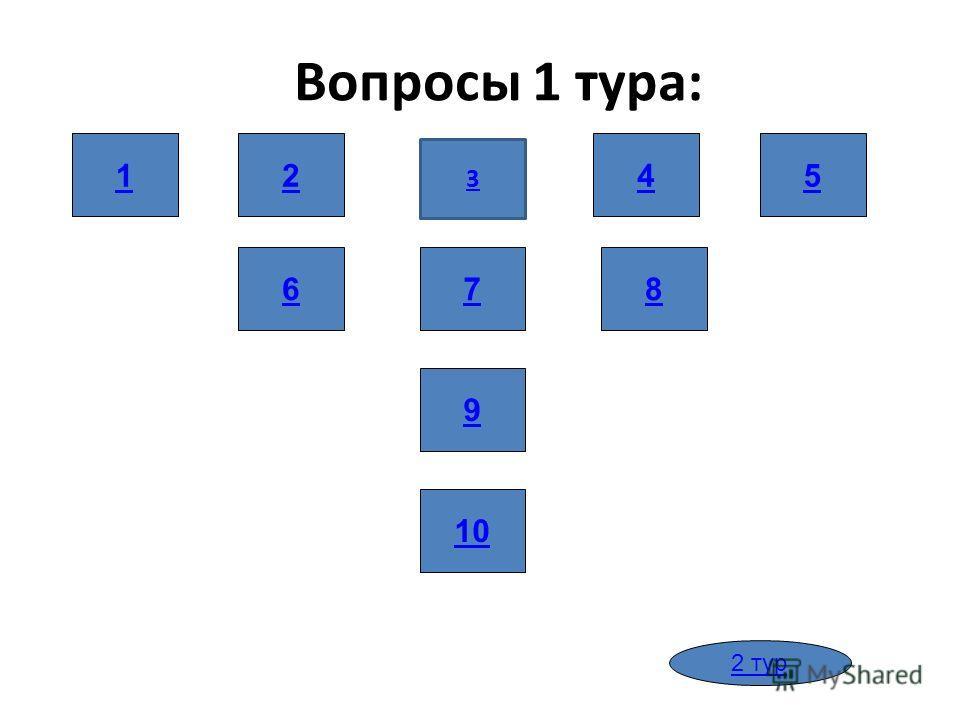 Вопросы 1 тура: 1 86 10 9 7 245 2 тур 1 3