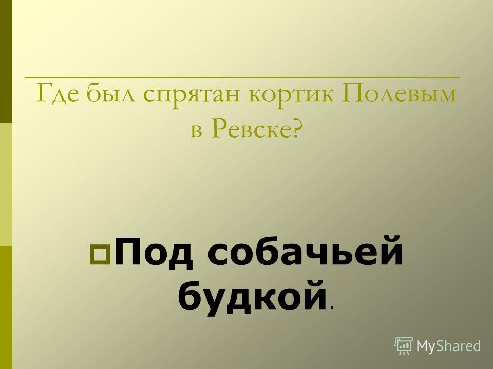 Где был спрятан кортик Полевым в Ревске? Под собачьей будкой.