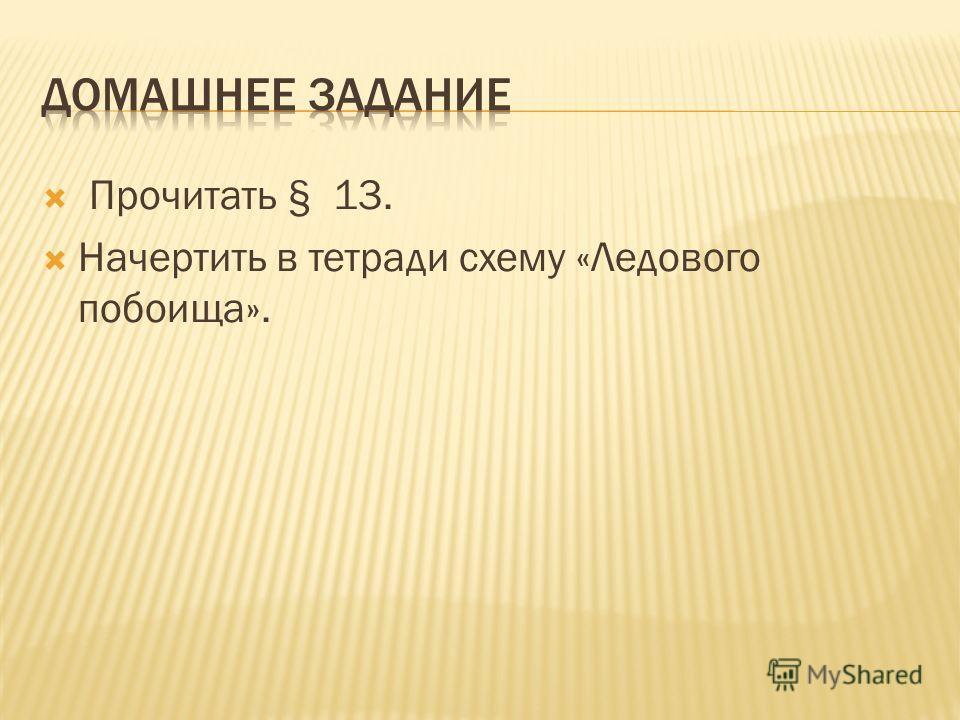 Прочитать § 13. Начертить в тетради схему «Ледового побоища».