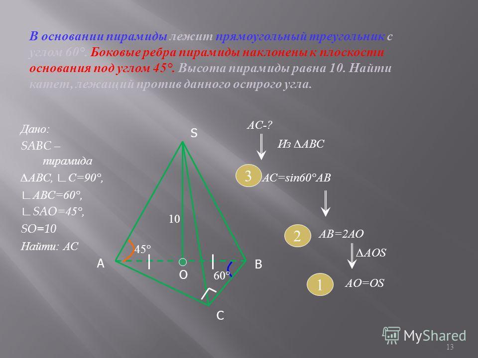Дано : SABC – пирамида АВС, С =90°, АВС =60°, SAO=45°, SO=10 Найти : АС 13 S С А О 10 60° 45° В В основании пирамиды лежит прямоугольный треугольник с углом 60°. Боковые ребра пирамиды наклонены к плоскости основания под углом 45°. Высота пирамиды ра
