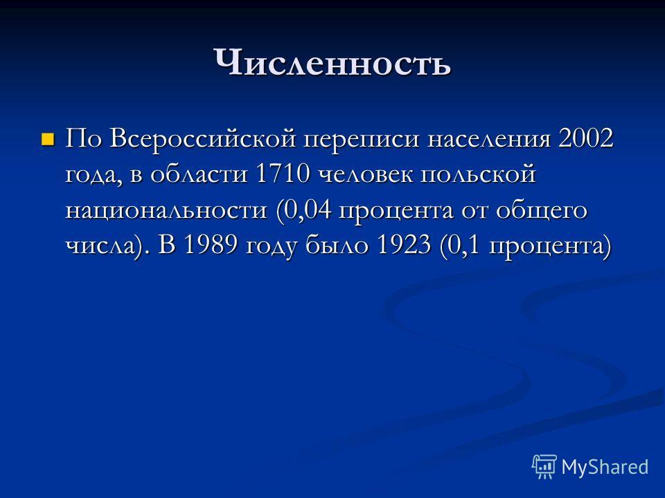 Численность По Всероссийской переписи населения 2002 года, в области 1710 человек польской национальности (0,04 процента от общего числа). В 1989 году было 1923 (0,1 процента) По Всероссийской переписи населения 2002 года, в области 1710 человек поль