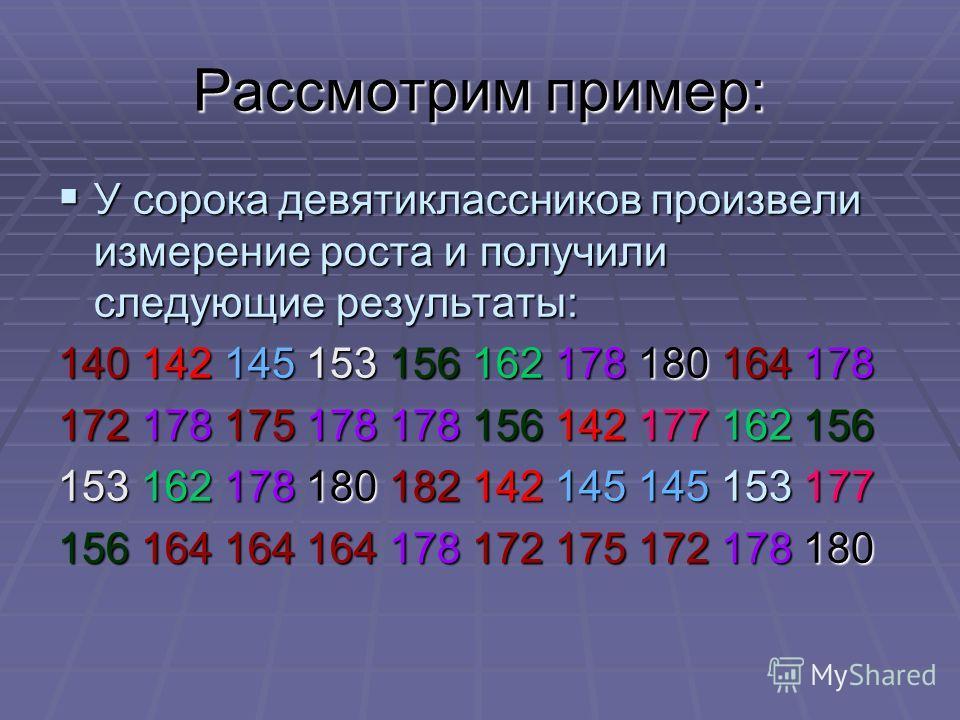 Рассмотрим пример: У сорока девятиклассников произвели измерение роста и получили следующие результаты: У сорока девятиклассников произвели измерение роста и получили следующие результаты: 140 142 145 153 156 162 178 180 164 178 172 178 175 178 178 1