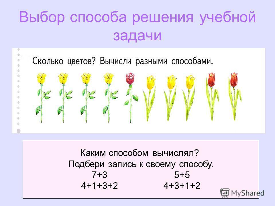 19 Выбор способа решения учебной задачи Каким способом вычислял? Подбери запись к своему способу. 7+35+5 4+1+3+24+3+1+2
