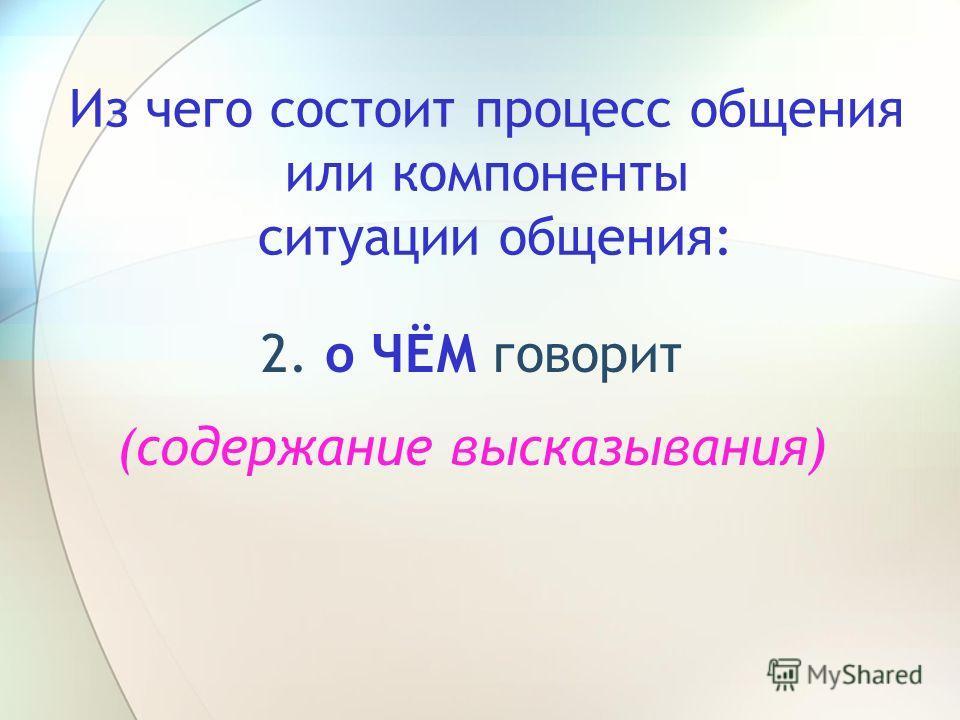 Из чего состоит процесс общения или компоненты ситуации общения: 2. о ЧЁМ говорит (содержание высказывания)