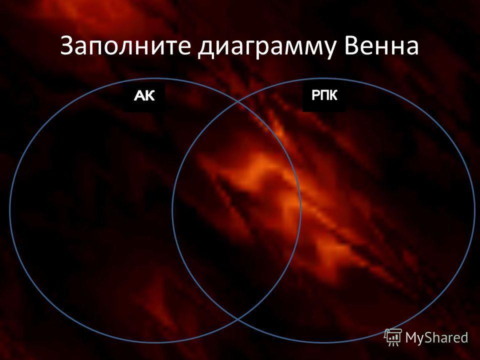 Заполните диаграмму Венна