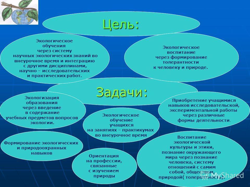 Цель: Ориентация на профессии, связанные с изучением природы Задачи: Экологическое обучения через систему научных экологических знаний во внеурочное время и интеграцию с другими дисциплинами, научно – исследовательских и практических работ. Формирова