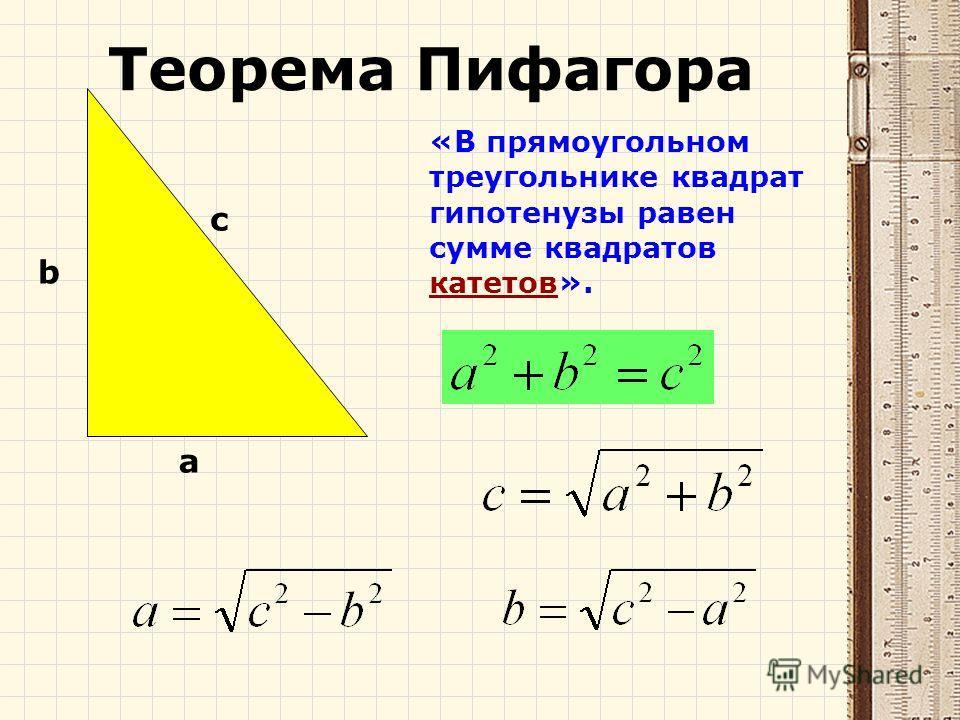«В прямоугольном треугольнике квадрат гипотенузы равен сумме квадратов катетов». c a b Теорема Пифагора