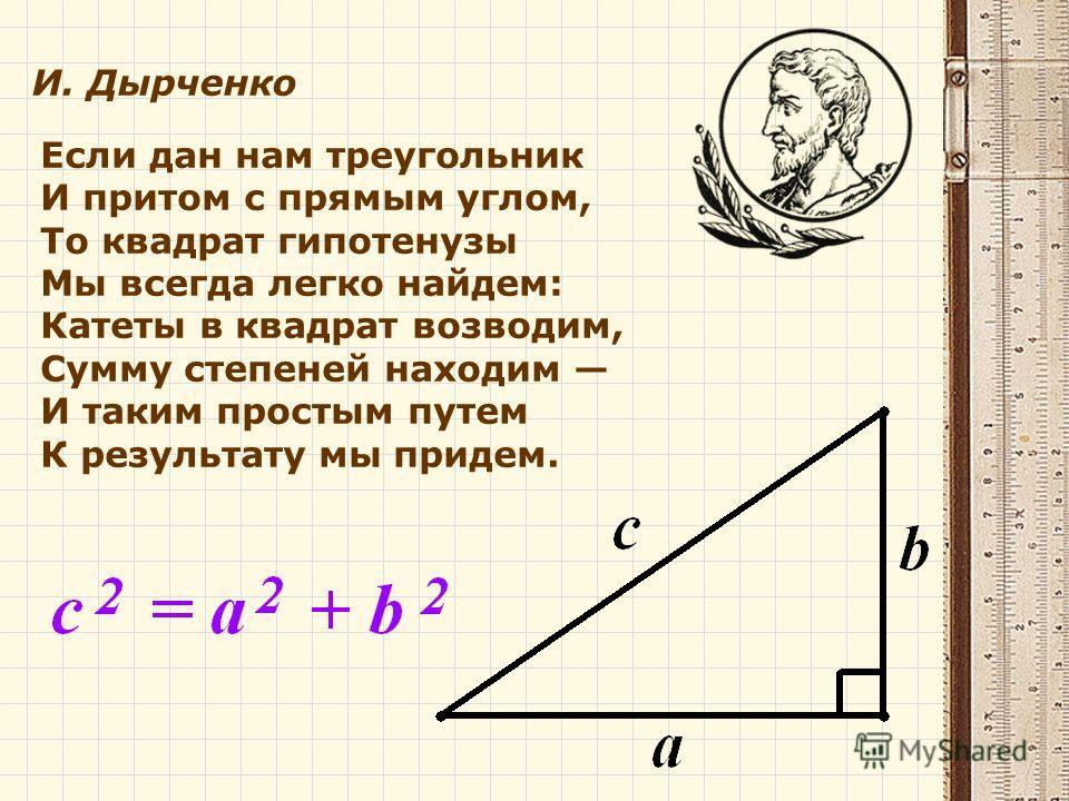 Если дан нам треугольник И притом с прямым углом, То квадрат гипотенузы Мы всегда легко найдем: Катеты в квадрат возводим, Сумму степеней находим И таким простым путем К результату мы придем. И. Дырченко