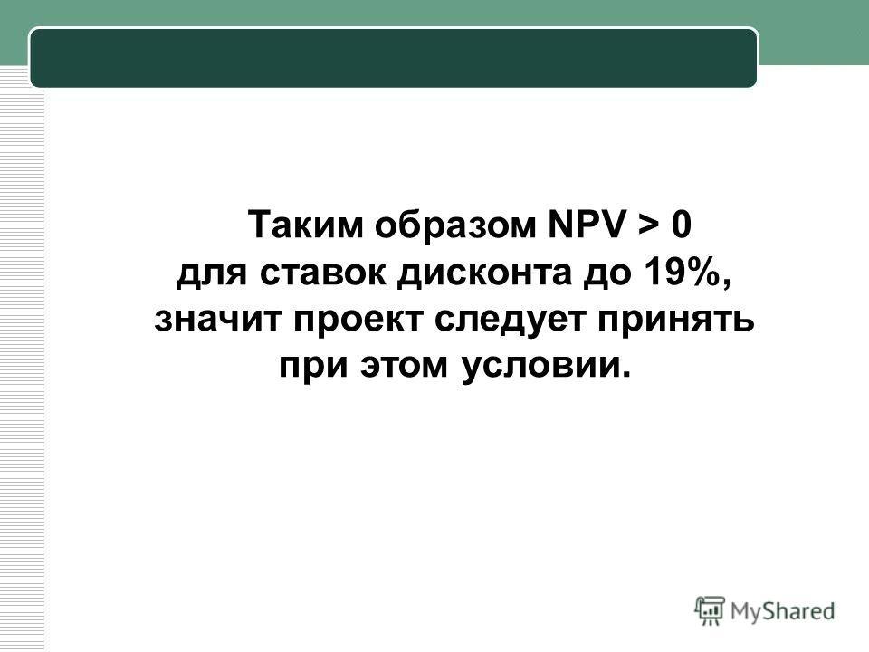 Таким образом NPV > 0 для ставок дисконта до 19%, значит проект следует принять при этом условии.