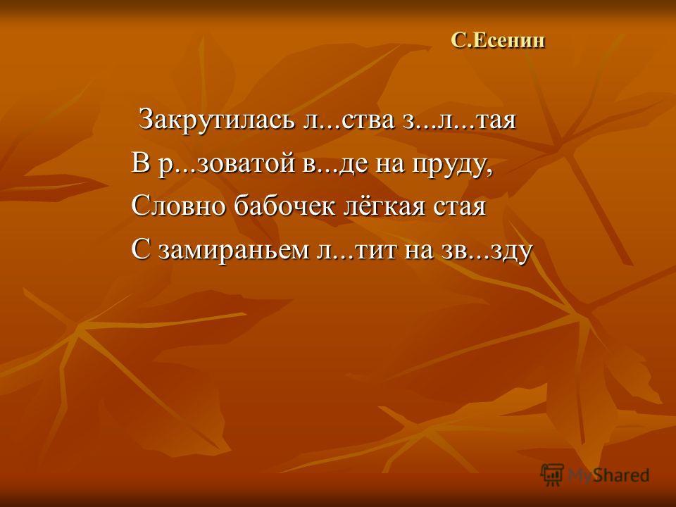 С.Есенин С.Есенин Закрутилась л...ства з...л...тая Закрутилась л...ства з...л...тая В р...зоватой в...де на пруду, Словно бабочек лёгкая стая С замираньем л...тит на зв...зду