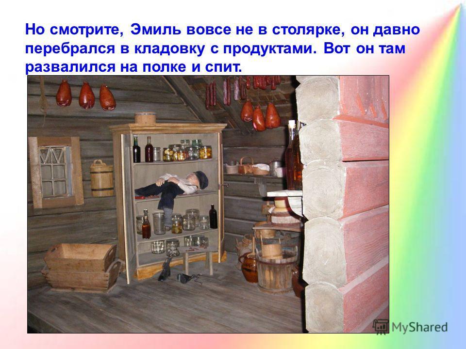 Но смотрите, Эмиль вовсе не в столярке, он давно перебрался в кладовку с продуктами. Вот он там развалился на полке и спит.