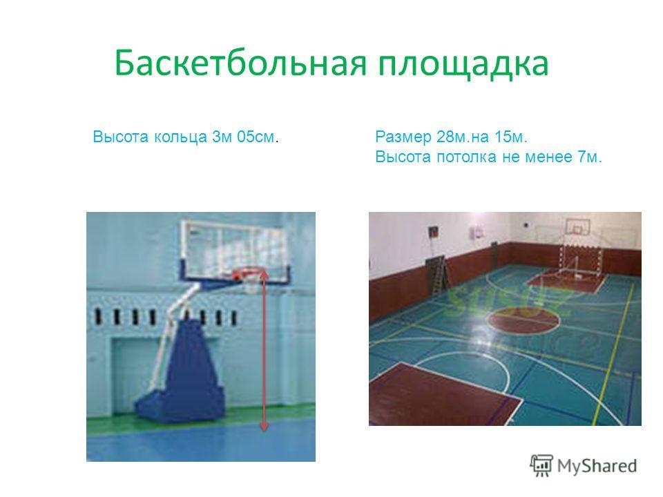 Баскетбольная площадка Размер 28м.на 15м. Высота потолка не менее 7м. Высота кольца 3м 05см.