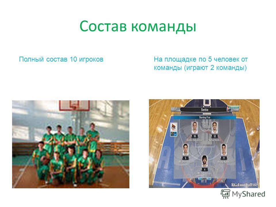 Состав команды Полный состав 10 игроковНа площадке по 5 человек от команды (играют 2 команды)