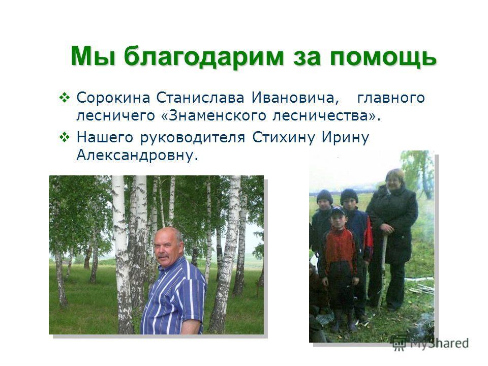 Мы благодарим за помощь Сорокина Станислава Ивановича, главного лесничего « Знаменского лесничества ». Нашего руководителя Стихину Ирину Александровну.