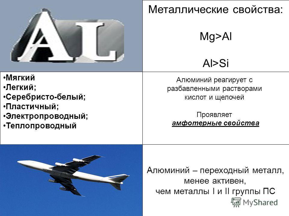 Алюминий – переходный металл, менее активен, чем металлы I и II группы ПС Применение Металлические свойства: Mg>Al Al>Si Алюминий реагирует с разбавленными растворами кислот и щелочей Проявляет амфотерные свойства Мягкий Легкий; Серебристо-белый; Пла