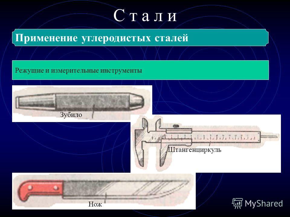 С т а л и Применение углеродистых сталей Режущие и измерительные инструменты Нож Зубило Штангенциркуль