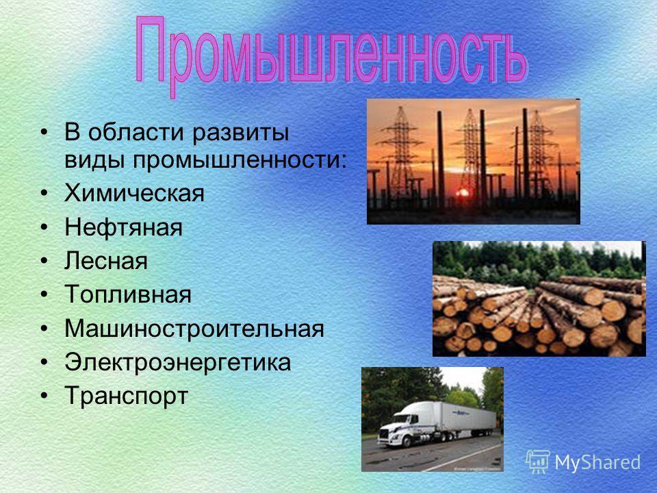 В области развиты виды промышленности: Химическая Нефтяная Лесная Топливная Машиностроительная Электроэнергетика Транспорт