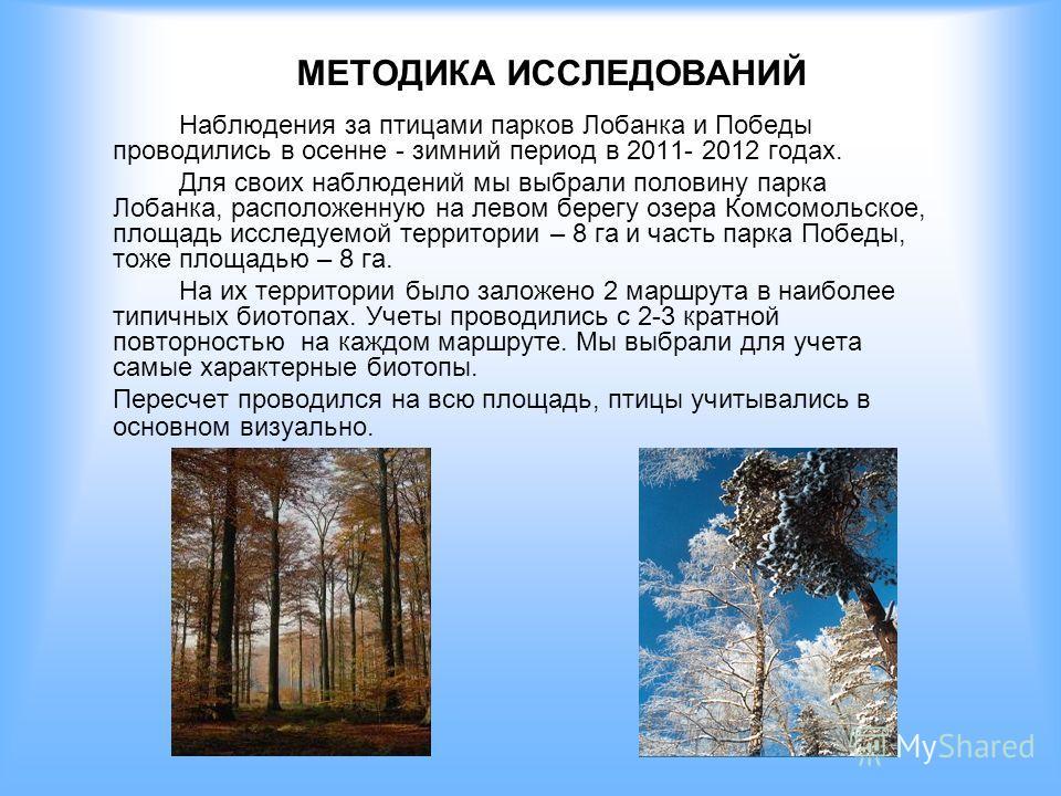 МЕТОДИКА ИССЛЕДОВАНИЙ Наблюдения за птицами парков Лобанка и Победы проводились в осенне - зимний период в 2011- 2012 годах. Для своих наблюдений мы выбрали половину парка Лобанка, расположенную на левом берегу озера Комсомольское, площадь исследуемо
