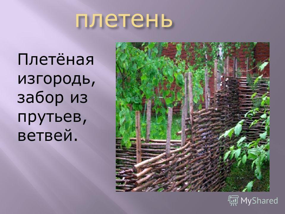 плетень плетень Плетёная изгородь, забор из прутьев, ветвей.