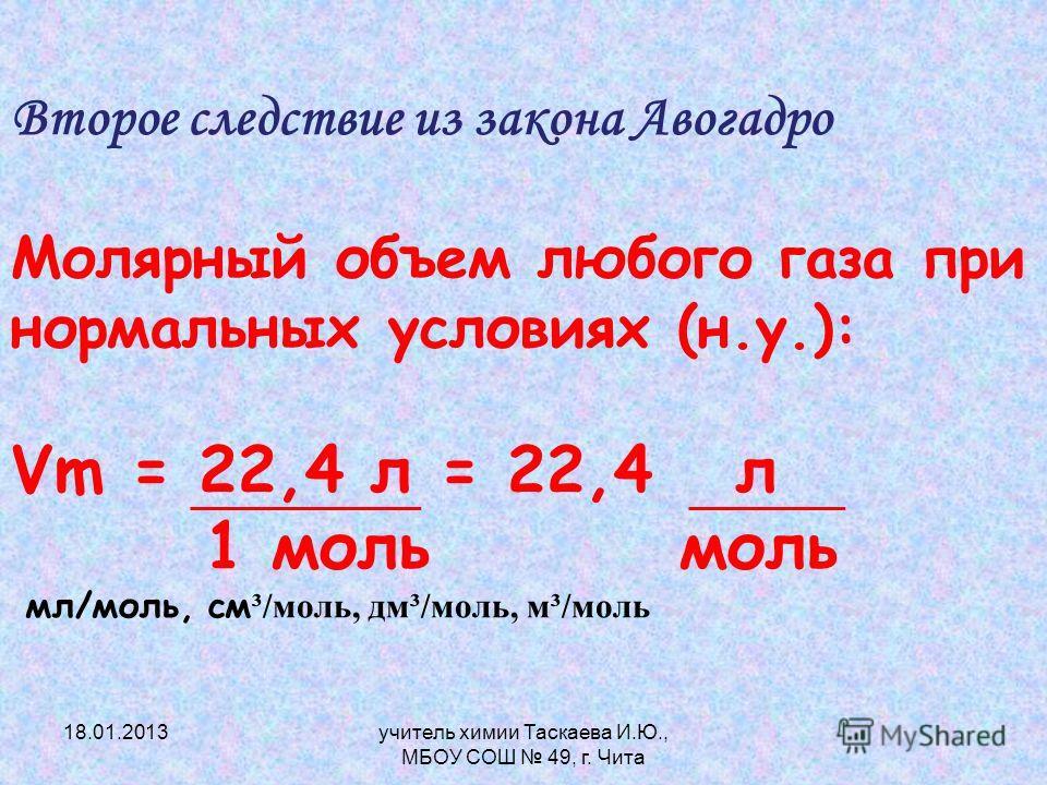 Второе следствие из закона Авогадро Молярный объем любого газа при нормальных условиях (н.у.): Vm = 22,4 л = 22,4 л 1 моль моль мл/моль, см ³/моль, дм³/моль, м³/моль 18.01.2013учитель химии Таскаева И.Ю., МБОУ СОШ 49, г. Чита