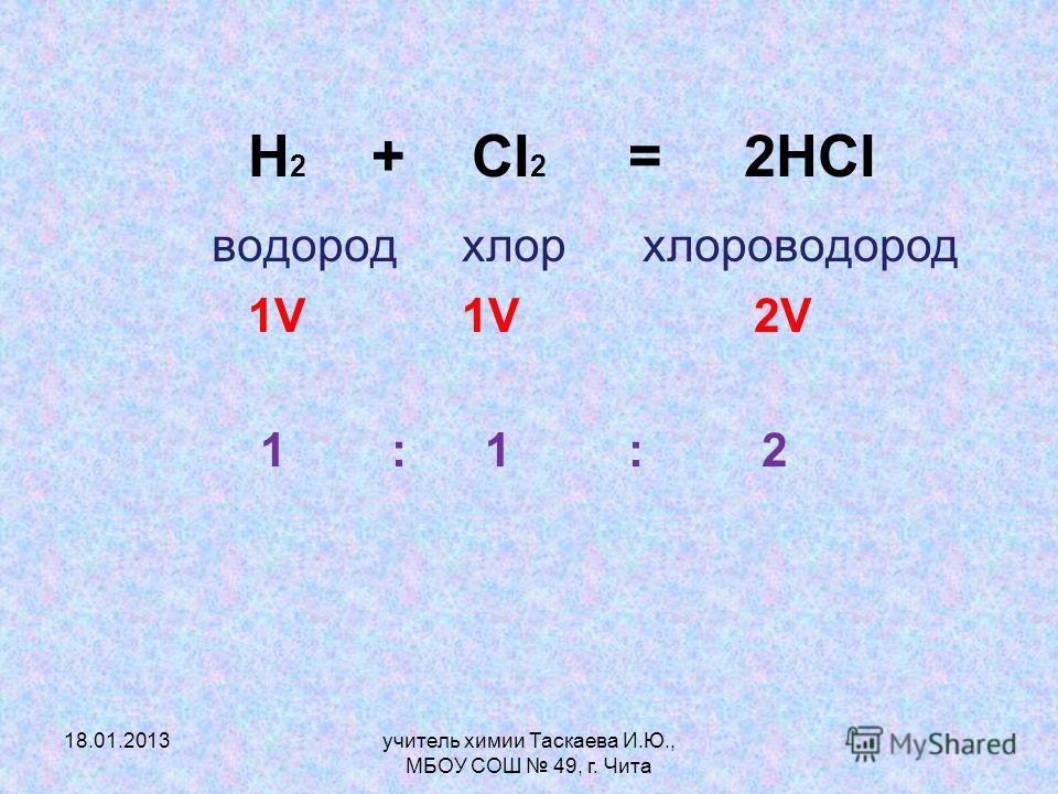 Н 2 + CI 2 = 2HCI водород хлор хлороводород 1V 1V 2V 1 : 1 : 2 18.01.2013учитель химии Таскаева И.Ю., МБОУ СОШ 49, г. Чита