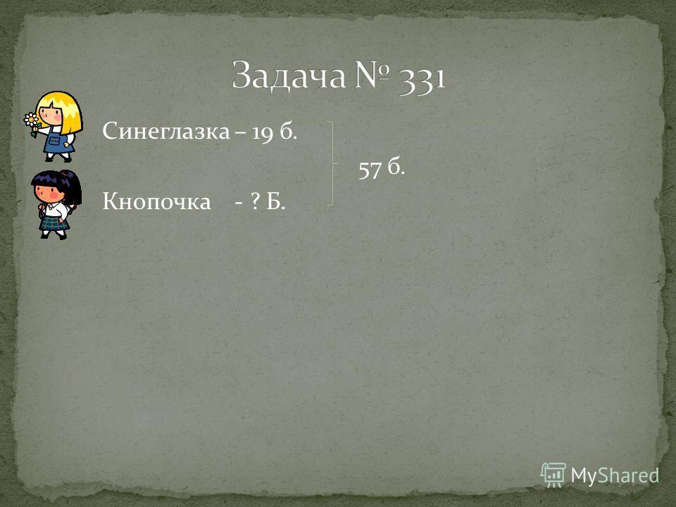 Синеглазка – 19 б. 57 б. Кнопочка - ? Б.